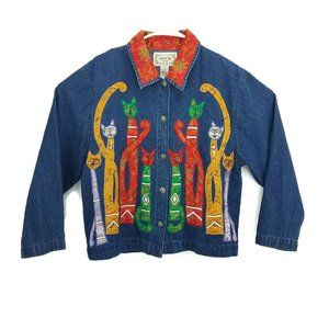 VTG 80s Tantrums Blue Jean Jacket Colorful Brocade